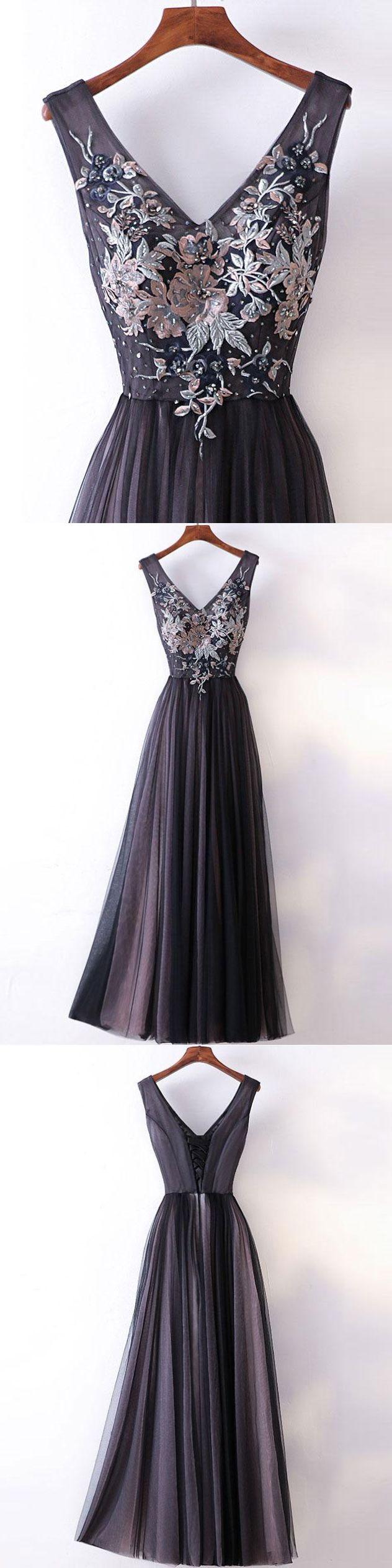 Princessaline vneck lace appliqued simple long prom dresses