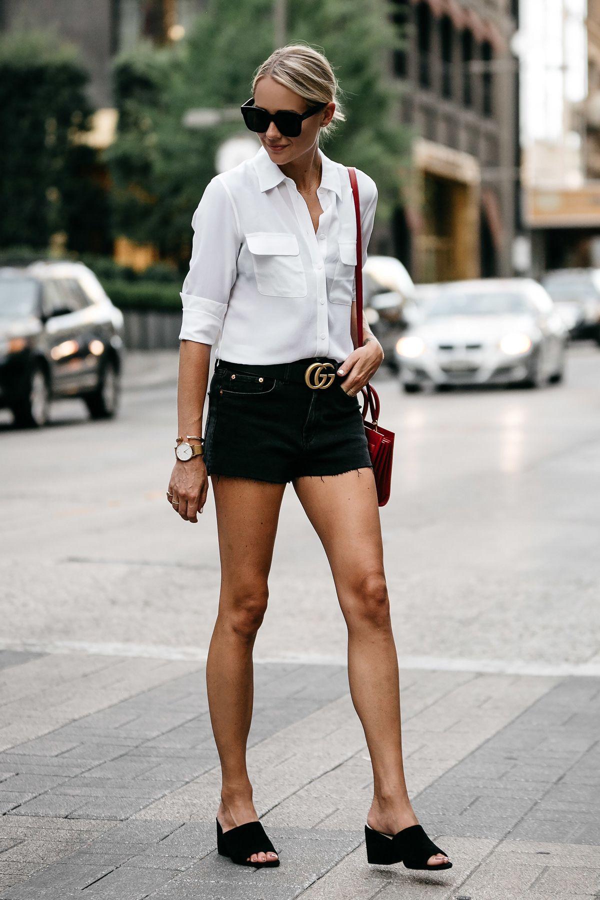373072a63ce Blonde Woman Wearing White Button Down Shirt Black Denim Shorts Outfit  Saint Laurent Sac De Jour Red Handbag Black Mules Gucci Marmont Belt  Fashion Jackson ...