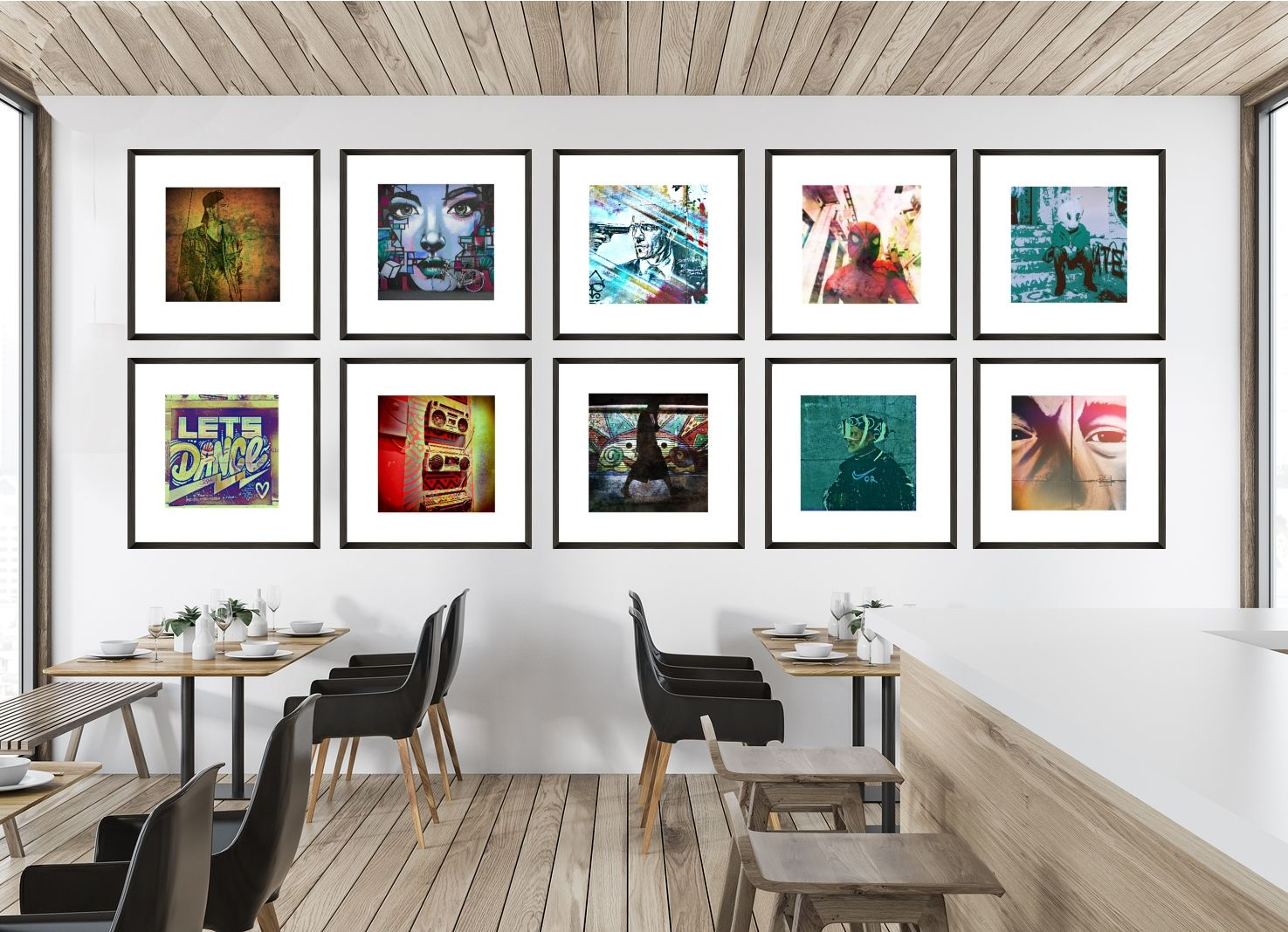 Large Gallery Wall Grid Display Set In A Minimalist Casual Dining Restaurant Cafe Gallerywalls Urban Gallery Wall Grid Gallery Wall Inspiring Art Prints