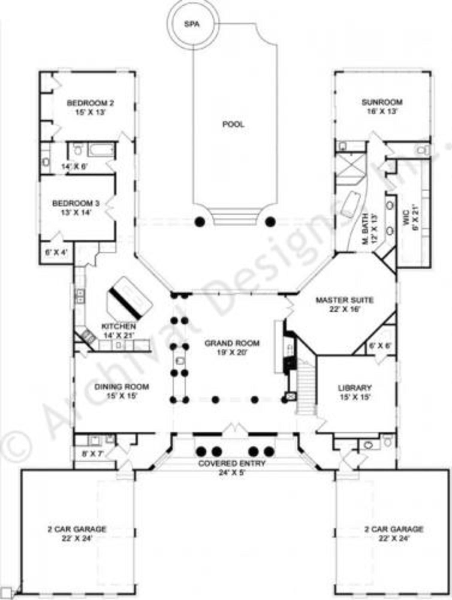 Bedroom House Plans With Courtyard Unique Sample Floor Fresh Split Small Bedrooms Modern And Single In 2020 Pool House Plans U Shaped House Plans Courtyard House Plans