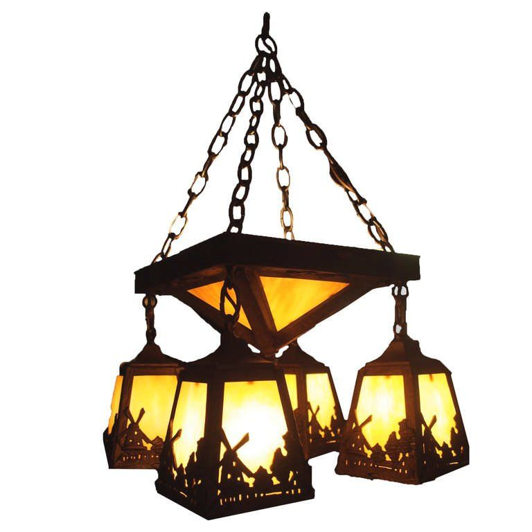 American arts and crafts windmill chandelier bronze