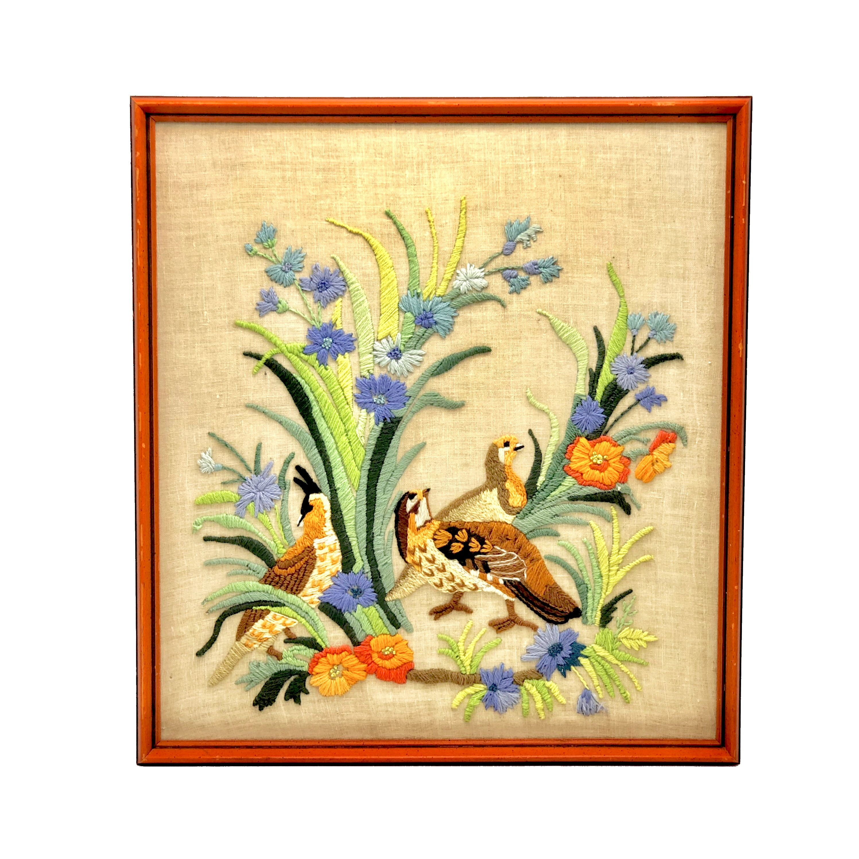 Mid Century Wall Art Vintage Hand Embroidery Art, Embroidery Picture ...