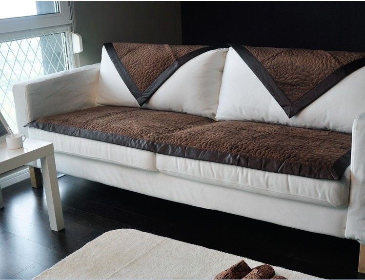 Fashion Brown Fabric Couch Sofa Cover Set Blanket Sectional Covers Home Decoration Textile