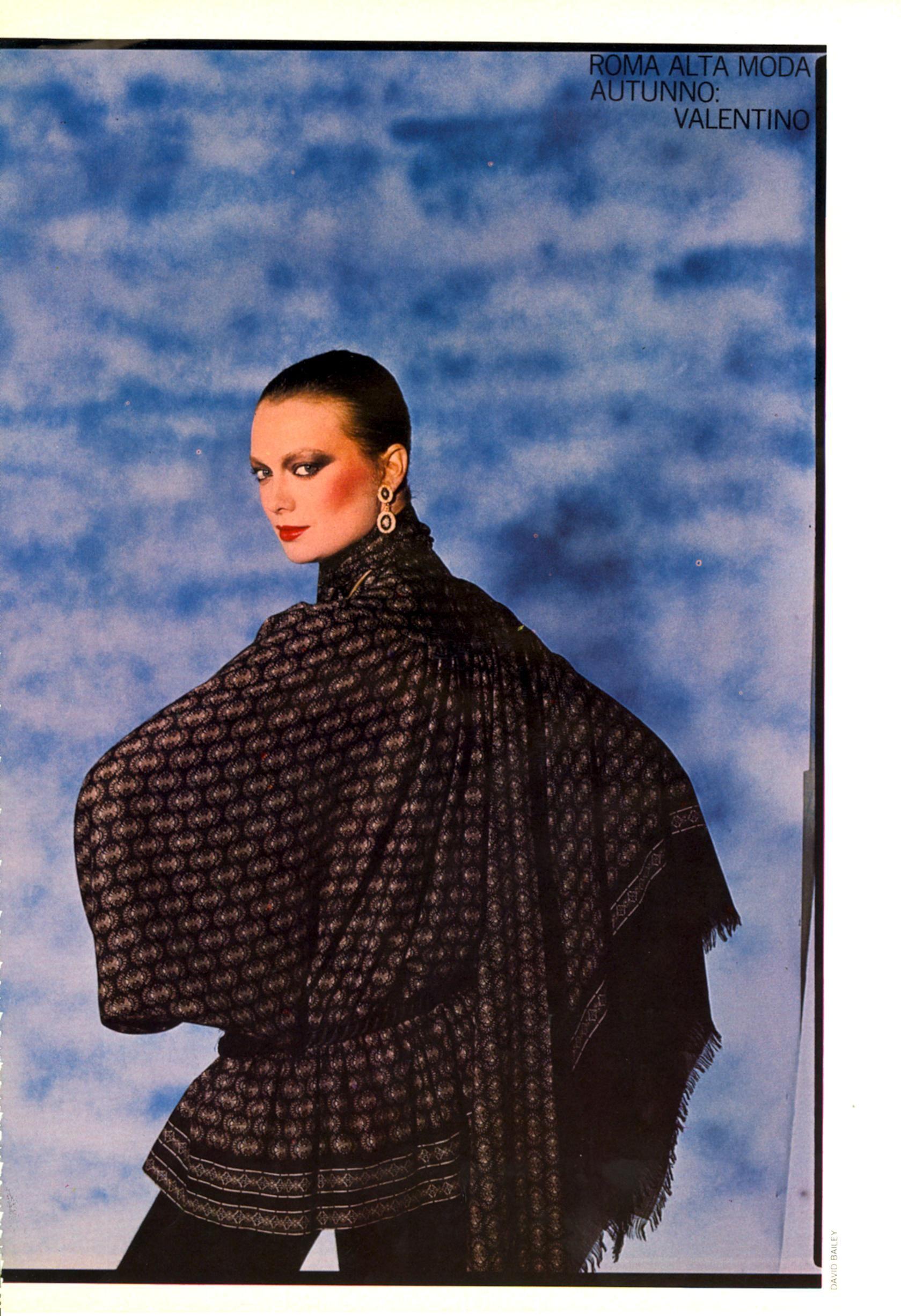 Vogue Italia September 1977 Vita Bassa o Alta? Tutto Fa Bella La Donna di Valentino Pt.1 Photo David Bailey  Models Vibeke Knudsen, Marie Helvin & Tree Allen