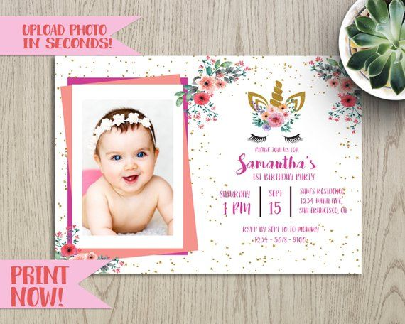 Diy Photo Upload Unicorn Baby Shower Birthday Baptism