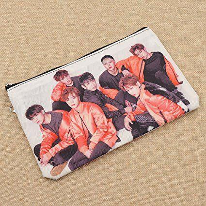 Amazon Com Double Deck Pockets Pencil Case Kpop Bts Got7 Pen Pouch Cosmetics Bag 1 Pc Office Products Dicas