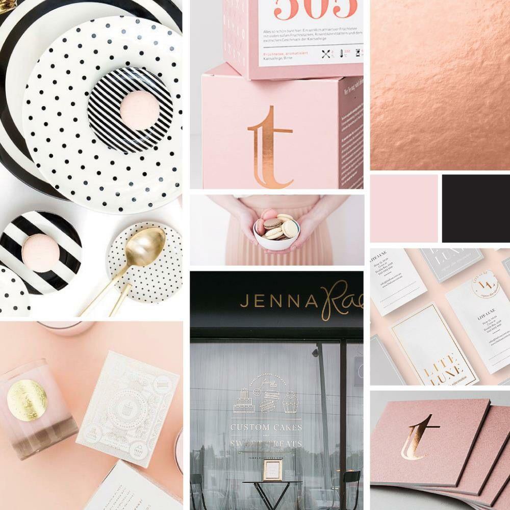 Rose Gold Black White And Blush Pink Inspiration Board For Current Rebranding Www Inkeepress C Rose Gold Color Palette Pink Mood Board Rose Gold Mood Board