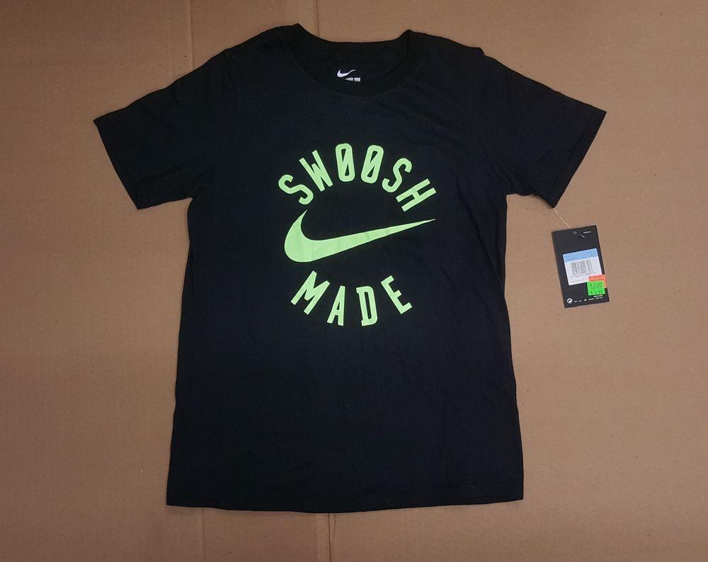 78330fa1aa9df NIKE SWOOSH MADE BLACK ATHLETIC CUT T SHIRT BOYS SIZE MEDIUM BQ6254 ...