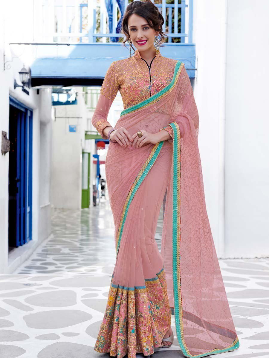 Image result for light pink color net sarees