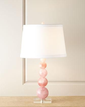 Lighting   Handcrafted Lamp Base Made Of Clear And Natural Pink Quartz With  A Linen Shade
