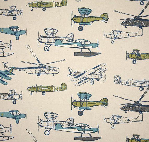 Boyu0027s Vintage Airplane Curtain Panels Blue By Asmushomeinteriors