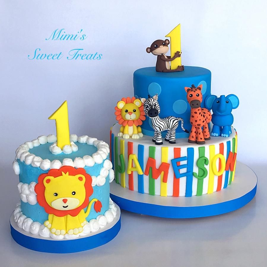 Zoo Animals 1st Bday And Smash Cake Cake By Mimissweettreats