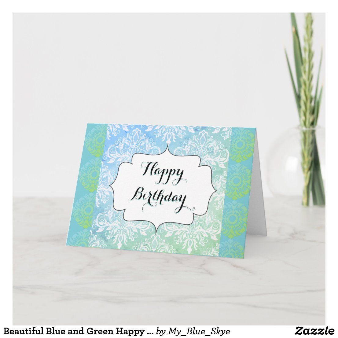 Beautiful Blue And Green Happy Birthday Card Zazzle Com Happy Birthday Cards Birthday Cards Vintage Easter Cards