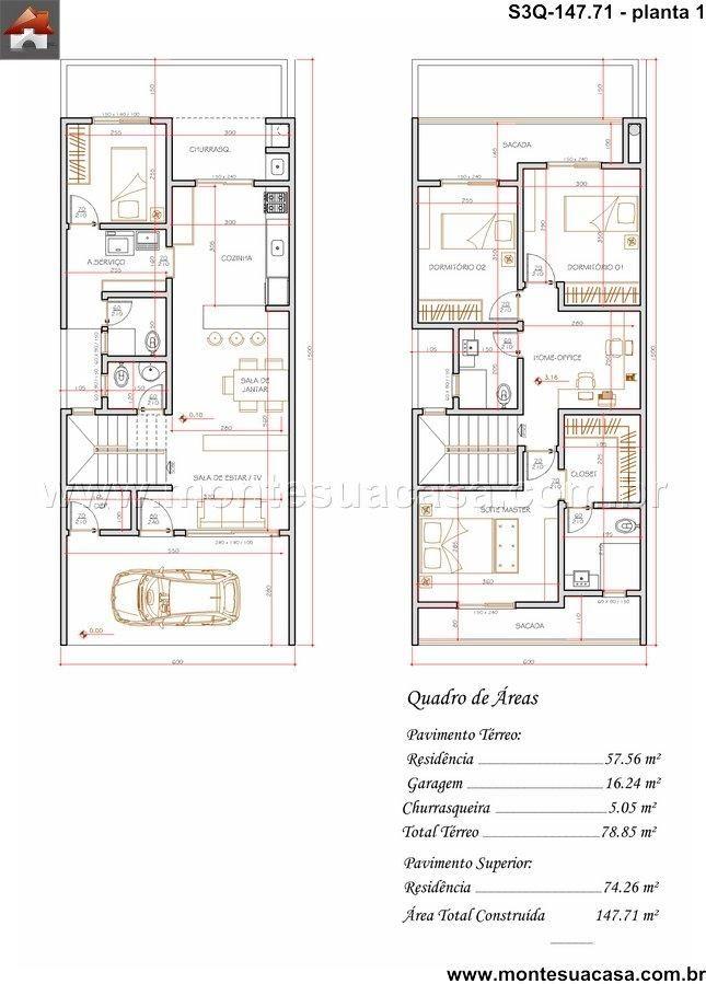 Sobrado 2 Quartos - 14771m² Planos Pinterest House