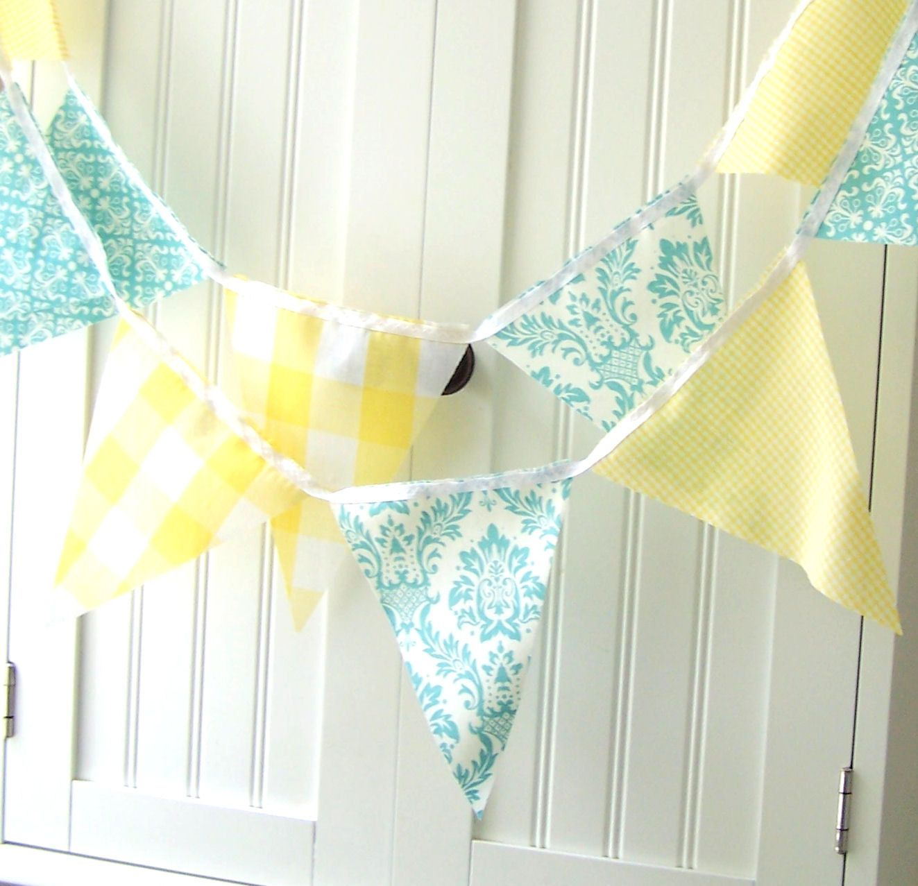 feet of banner bunting flags in aqua blue damask and vintage