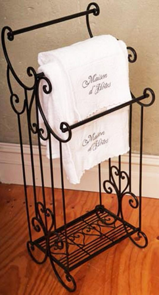 French Country Bathroom Or Kitchen Wrought Iron Towel Rack Black Brand New