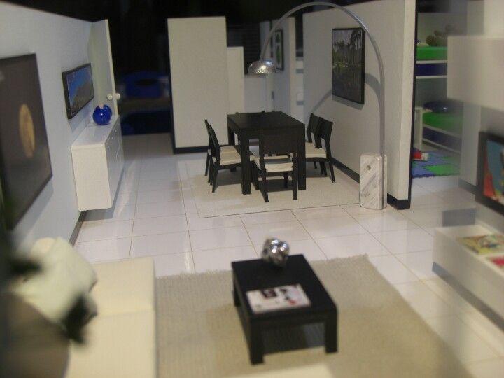 Maqueta sala comedor y vista del cuarto de los ni os for Casa minimalista maqueta
