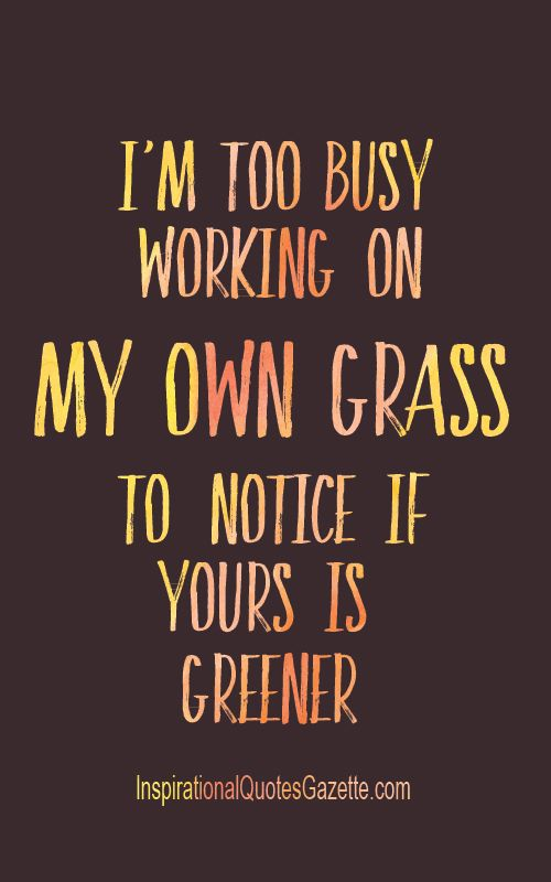 I M Too Busy Working On My Own Grass To Notice If Yours Is Greener Inspirational Quotes Gazette Smile Quotes Motivational Quotes Cute Smile Quotes