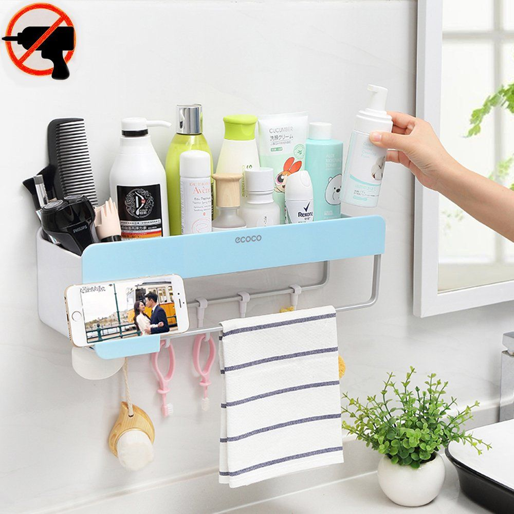Bathroom Shelf Organizer Storage Adhesive Floating Wall Basket ...