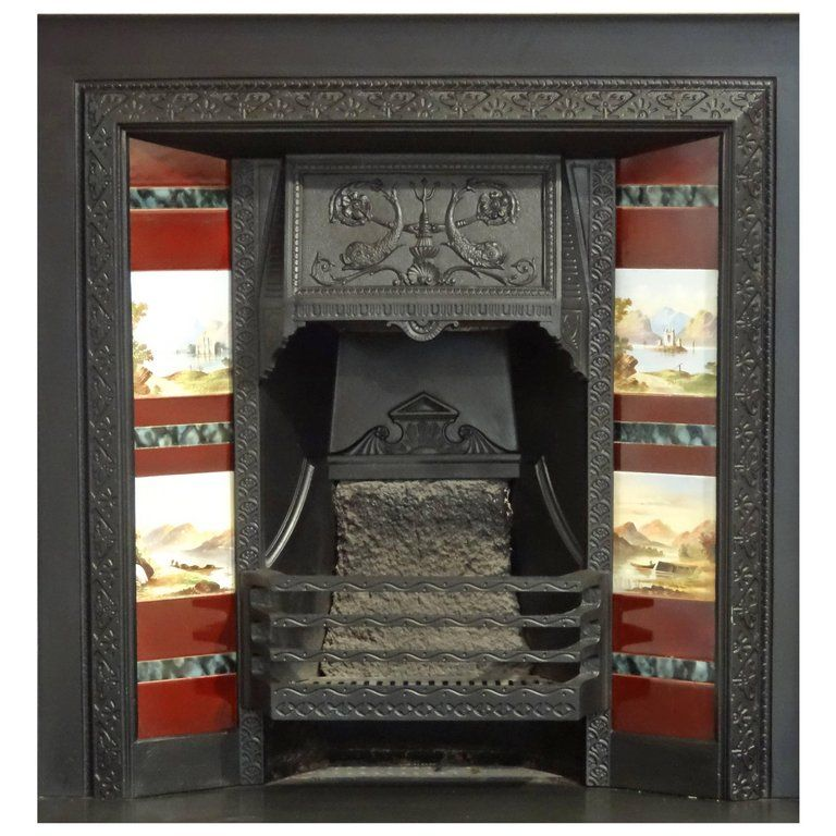Victorian Scottish Cast Iron Fireplace Insert Grate With Hand Painted Tiles From A Un Vintage Fireplace Cast Iron Fireplace Insert Antique Fireplace Surround