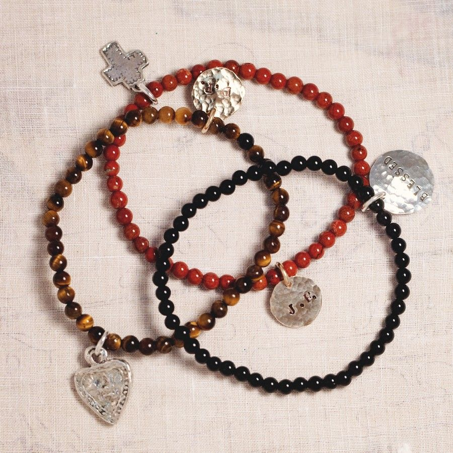 Stacking Beaded Braclets with Hand Stamped Charms Three Sisters
