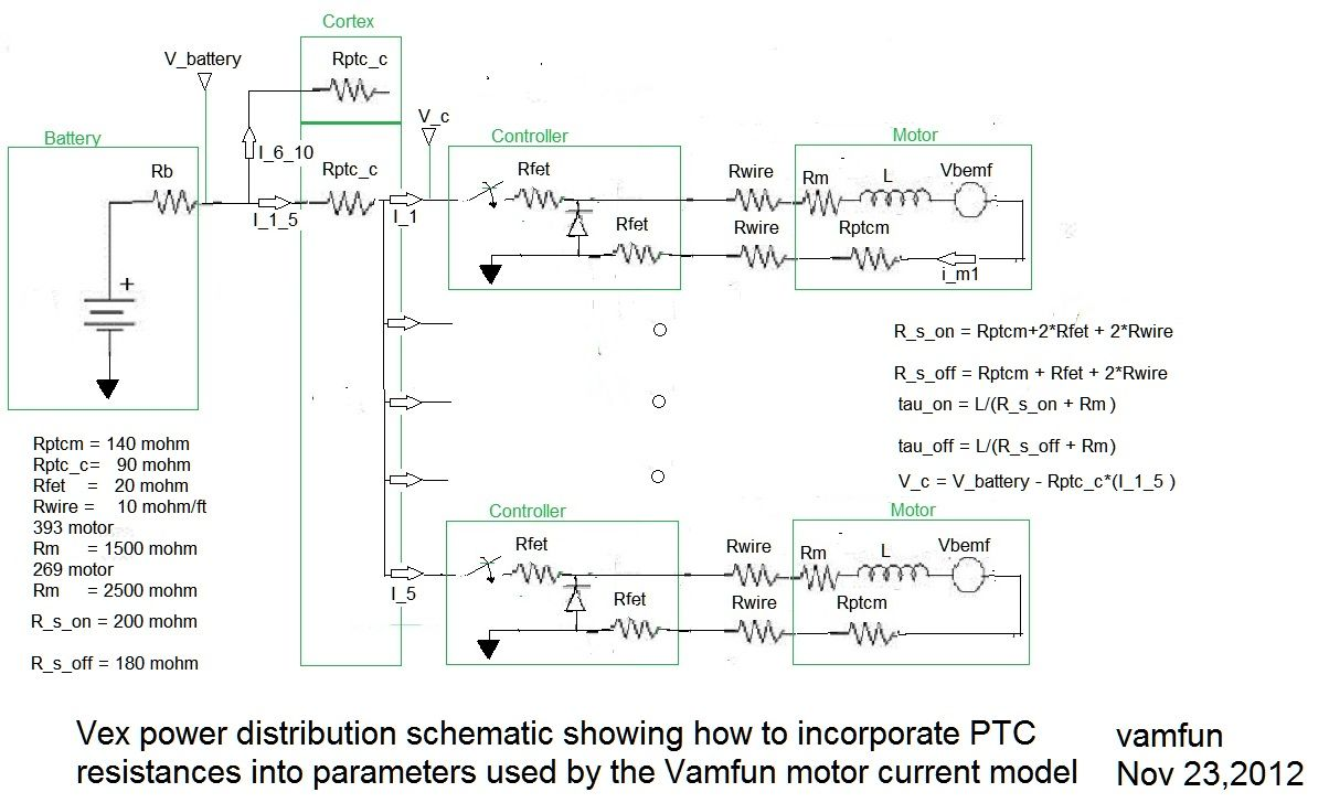proposed method of incorporating ptc resistance into my vex motor vex power distribution schematic showing ptc resistances