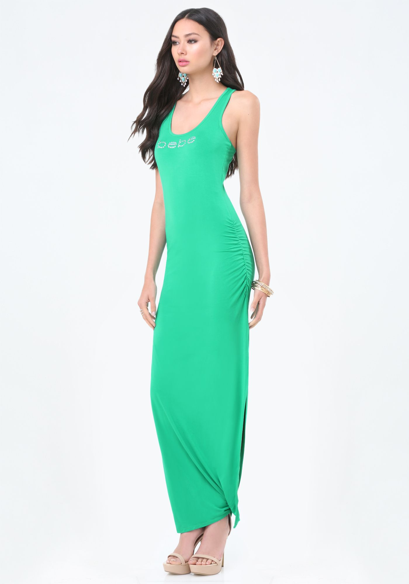 Bebe Shirred Tank Maxi Dress Bridget Hollitt 265005 Paa Flowy Maxi Dress Maxi Tank Dress Dresses [ 2000 x 1400 Pixel ]
