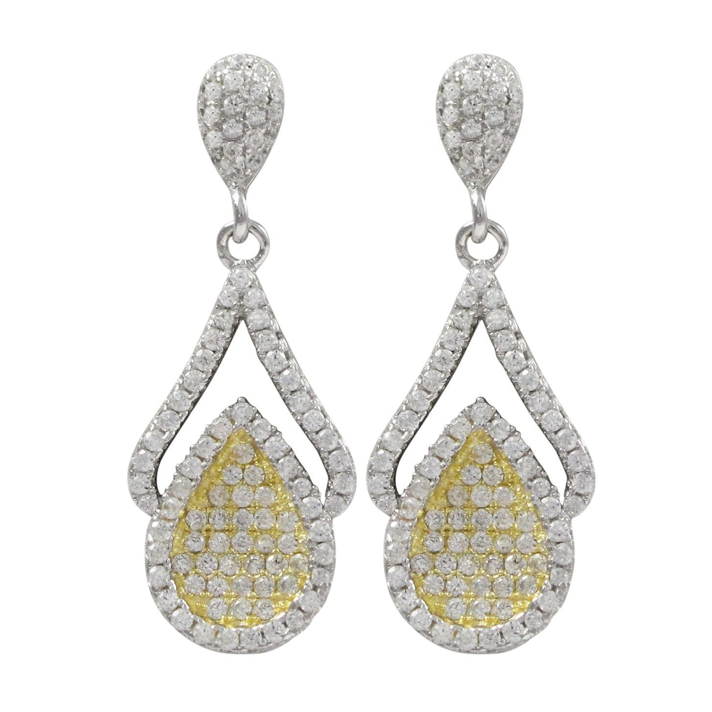 Rose Gold Finish Sterling Pave Cubic Zirconia Teardrop Earrings