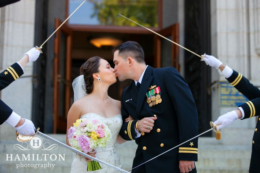 The classic sword arch exit from another beautiful Naval Academy Chapel wedding.  #hamiltonphoto #hamiltonphotography #annapolis #annapolisweddings #USNA #navalacademywedding #marylandphotographers #weddingphotos #romantic #dramatic #candid #swordarch #weddingexit