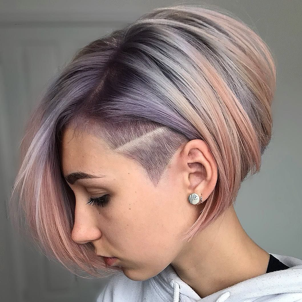 Getting creative with some pastel tones and a funky asymmetric bob and  undercut 🤟🏽 || Lavenders Silve… | Short hair undercut, Haircut for thick  hair, Hair styles