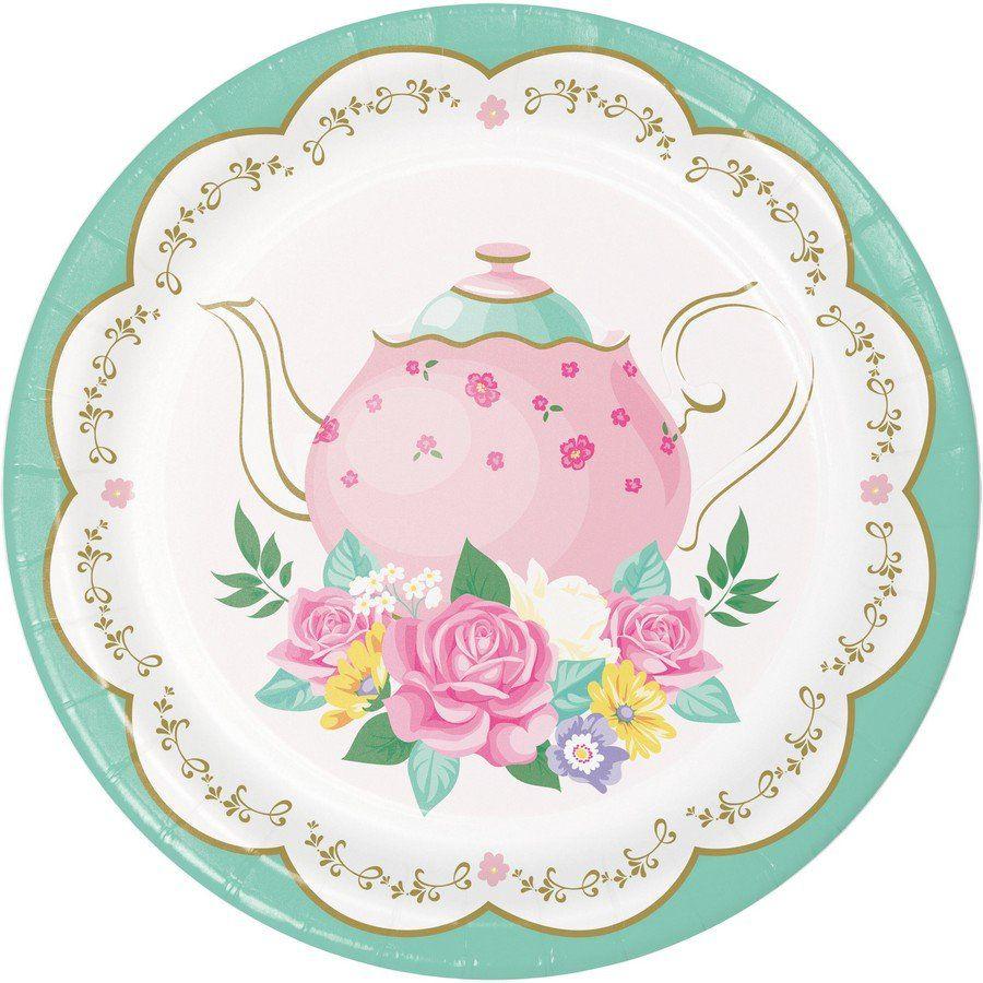 Floral Tea Party Dessert Plate 8 Partybell Com Tea Party Supplies Themed Tea Floral Tea