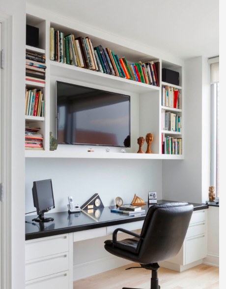 Decide If Charlie Wants A Tv Above Desk In Living Room Guest Bedroom Home Office Home Office Design