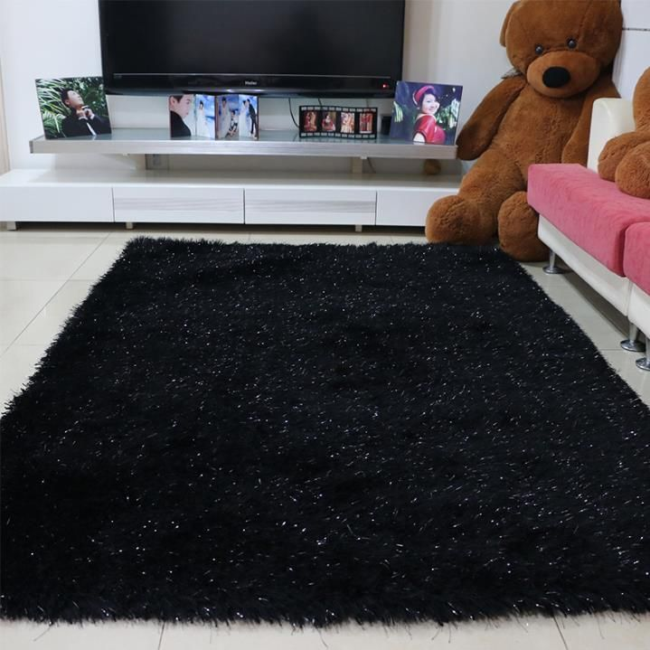 Gy Black Area Rug With Glitter