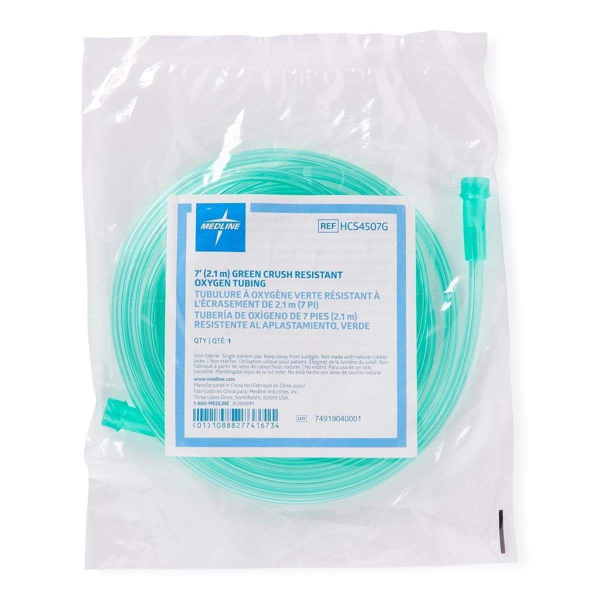 Medline green oxygen tubing with standard connector
