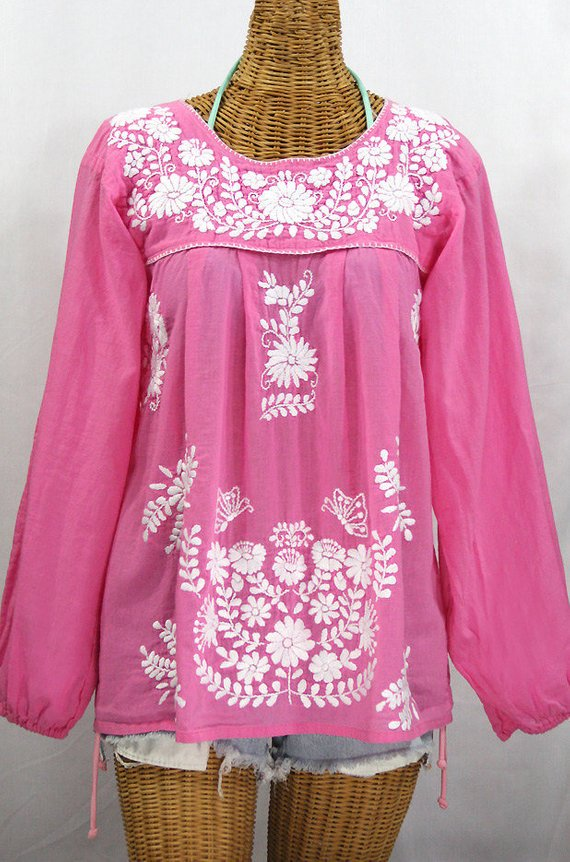7ce9baaeef2163 Long Sleeve Mexican Peasant Blouse Top Hand Embroidered: