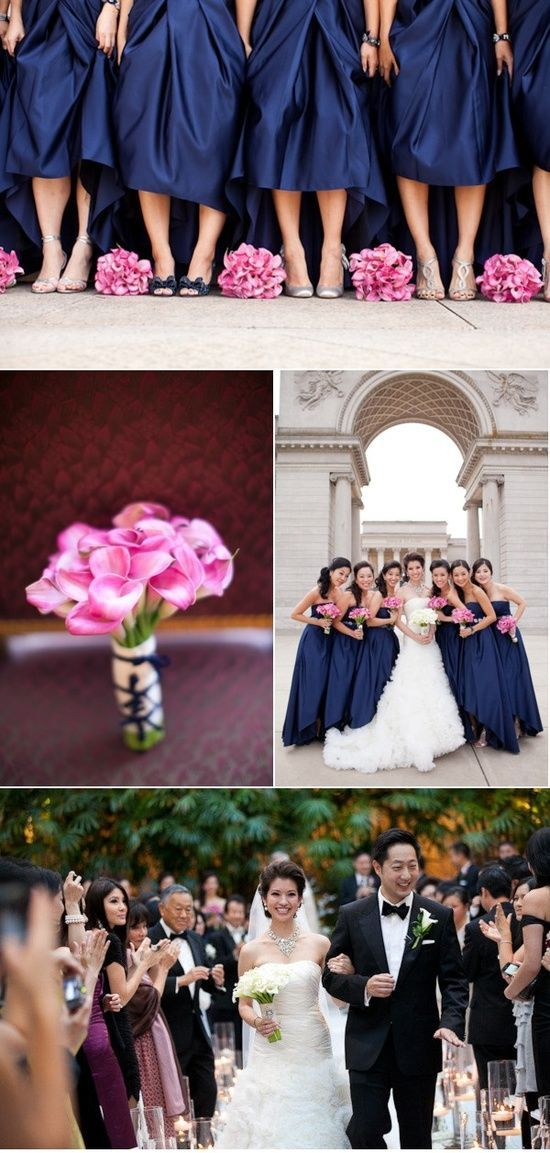 Navy Blue And Fuschia Wedding   Navy Blue Wedding Color Palettes / silver navy pink