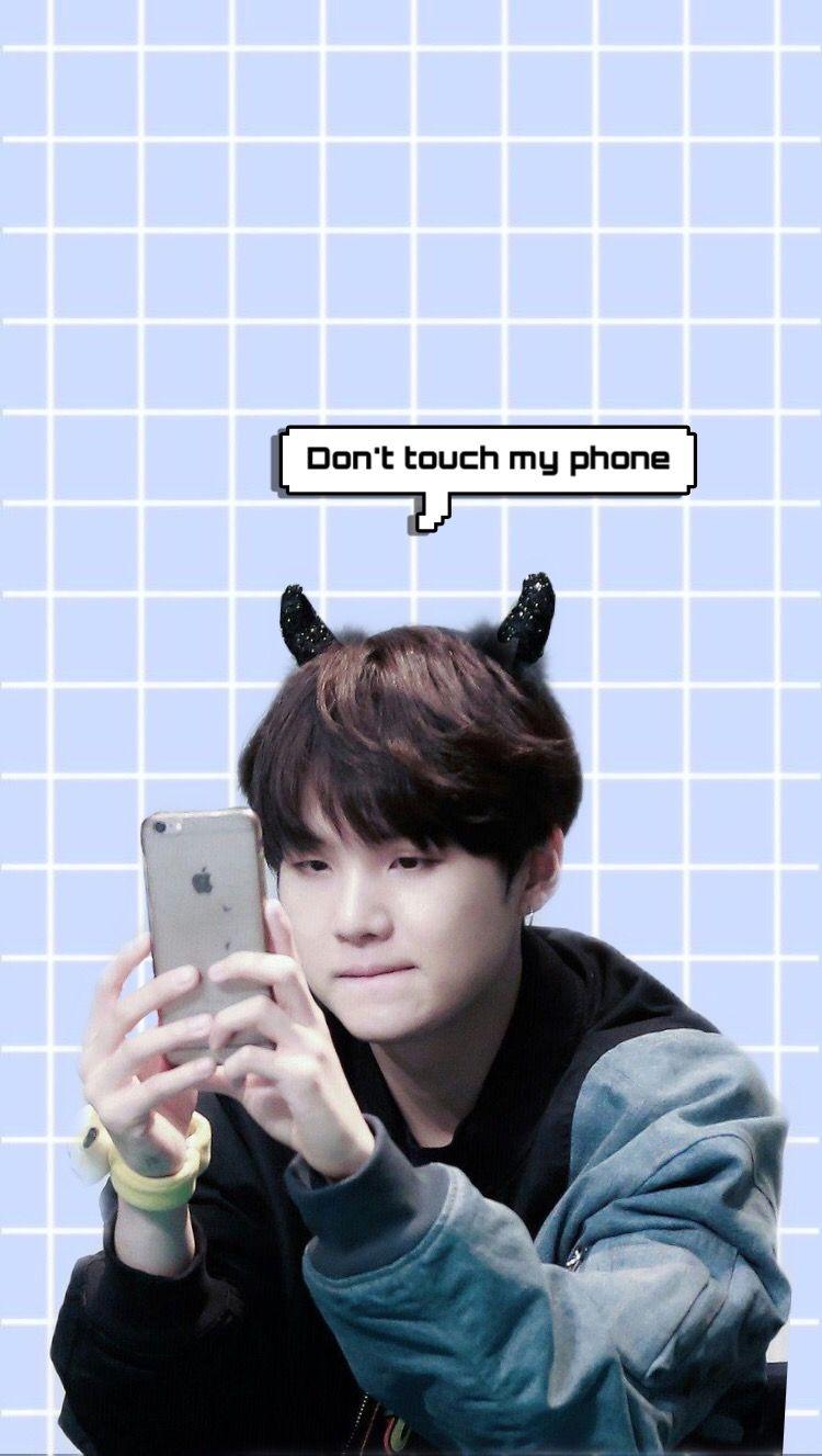 Don T Touch My Phone Suga Lockscreen Wallpaper Wallpaper Lucu Bts Suga Wallpaper Kpop Wallpaper hp suga bts