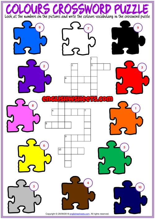 colours crossword puzzle esl exercise worksheet for kids 2nd sub tatuajes colegios. Black Bedroom Furniture Sets. Home Design Ideas