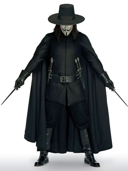Adult V For Vendetta Costume Kit Cape Hat Mask Belt Toy Plastic Daggers Set New