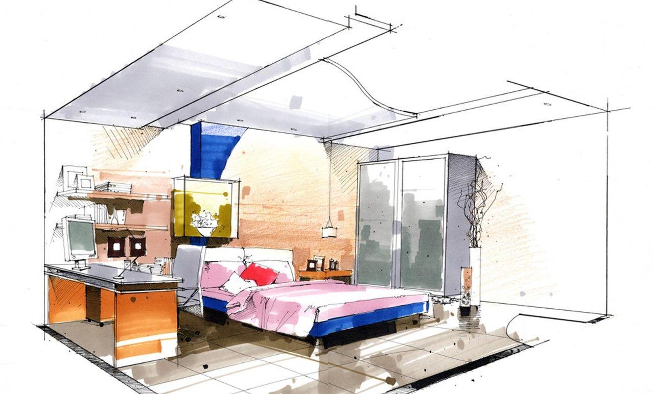 Interior Design Bedroom Sketches bed sketch | interior design sketches | pinterest | sketches