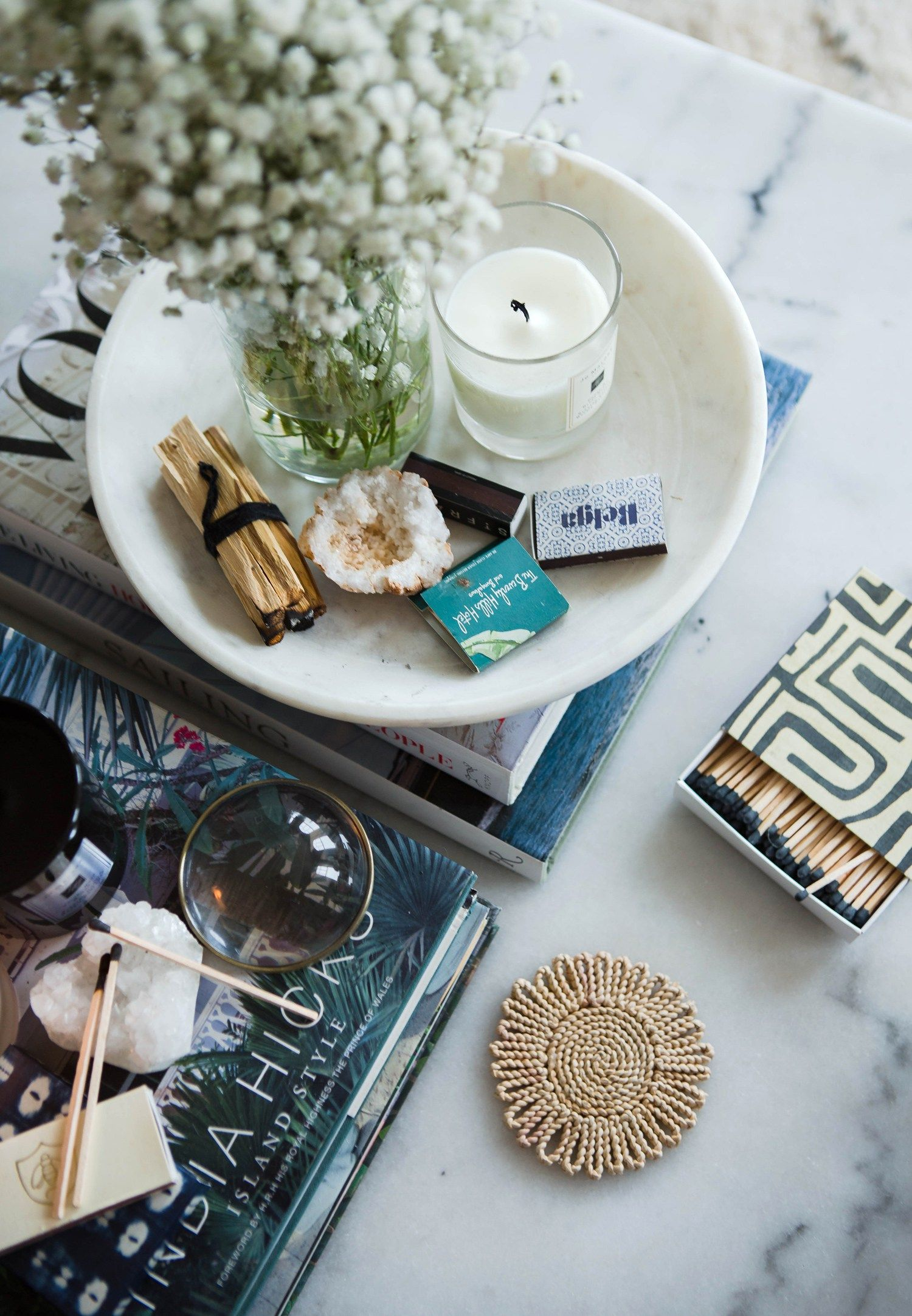 Collected and eclectic coffee table styling eclectic
