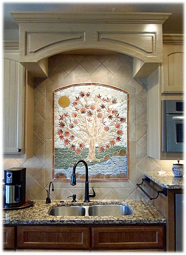 Moasic Tile Behind Sink  Beautiful Way To Accent Sink That's Beauteous Kitchen Sink Backsplash Decorating Design