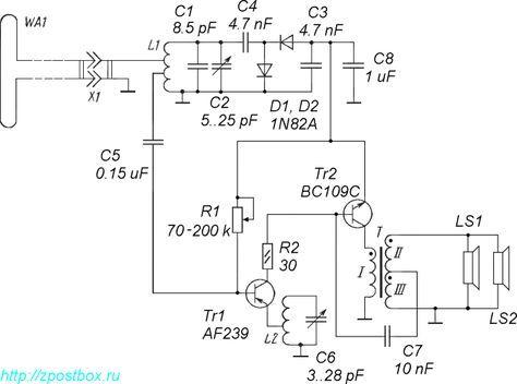 Схема УКВ ЧМ детекторного приёмника для диапазона ФМ