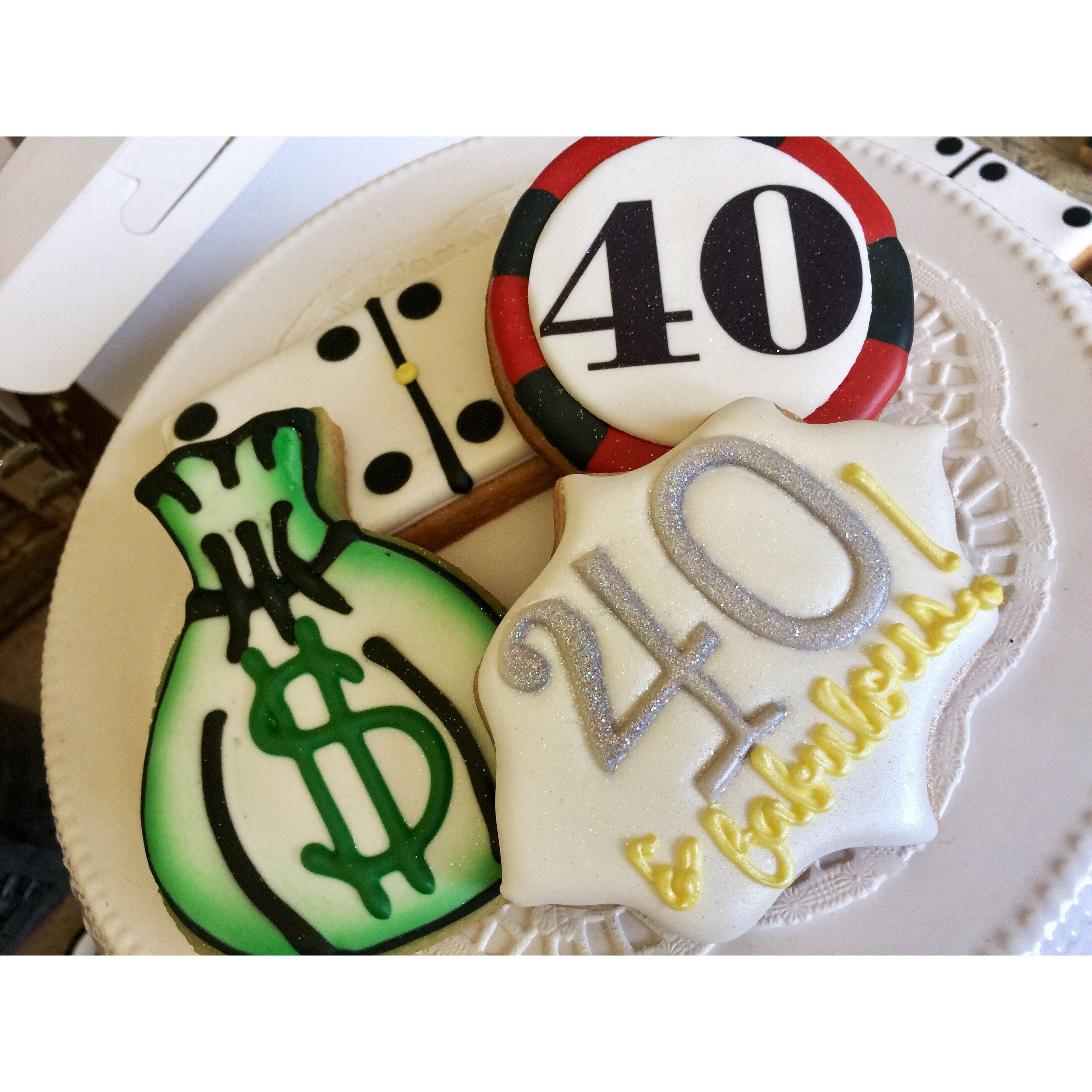 Poker chip cookies money bag cookies 40 &a fabulous