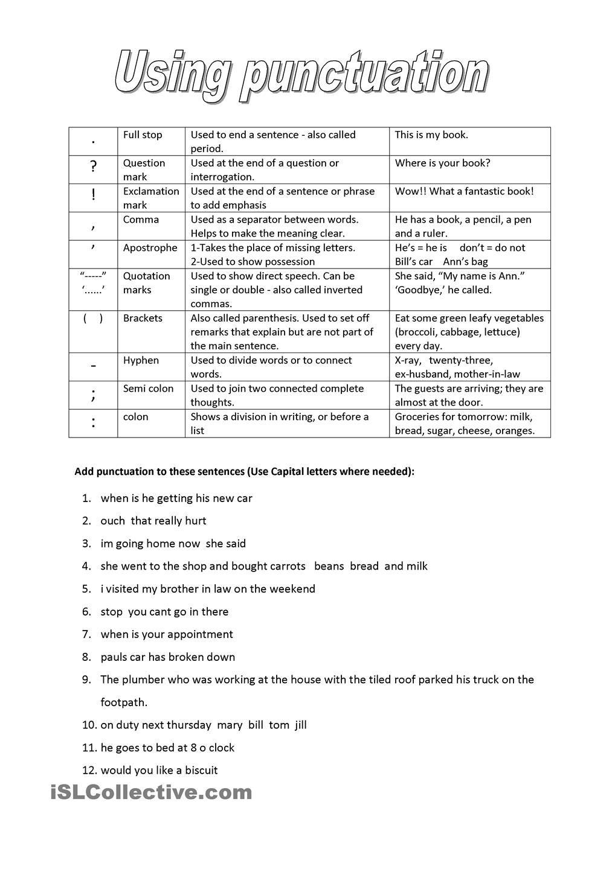 Punctuation Punctuation Worksheets Punctuation Kids Worksheets Printables [ 1440 x 1018 Pixel ]