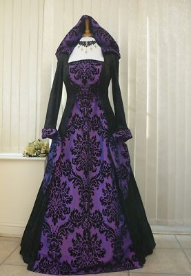 Gothic Whitby Medieval Wedding Dress Hooded Renaissance Pagan