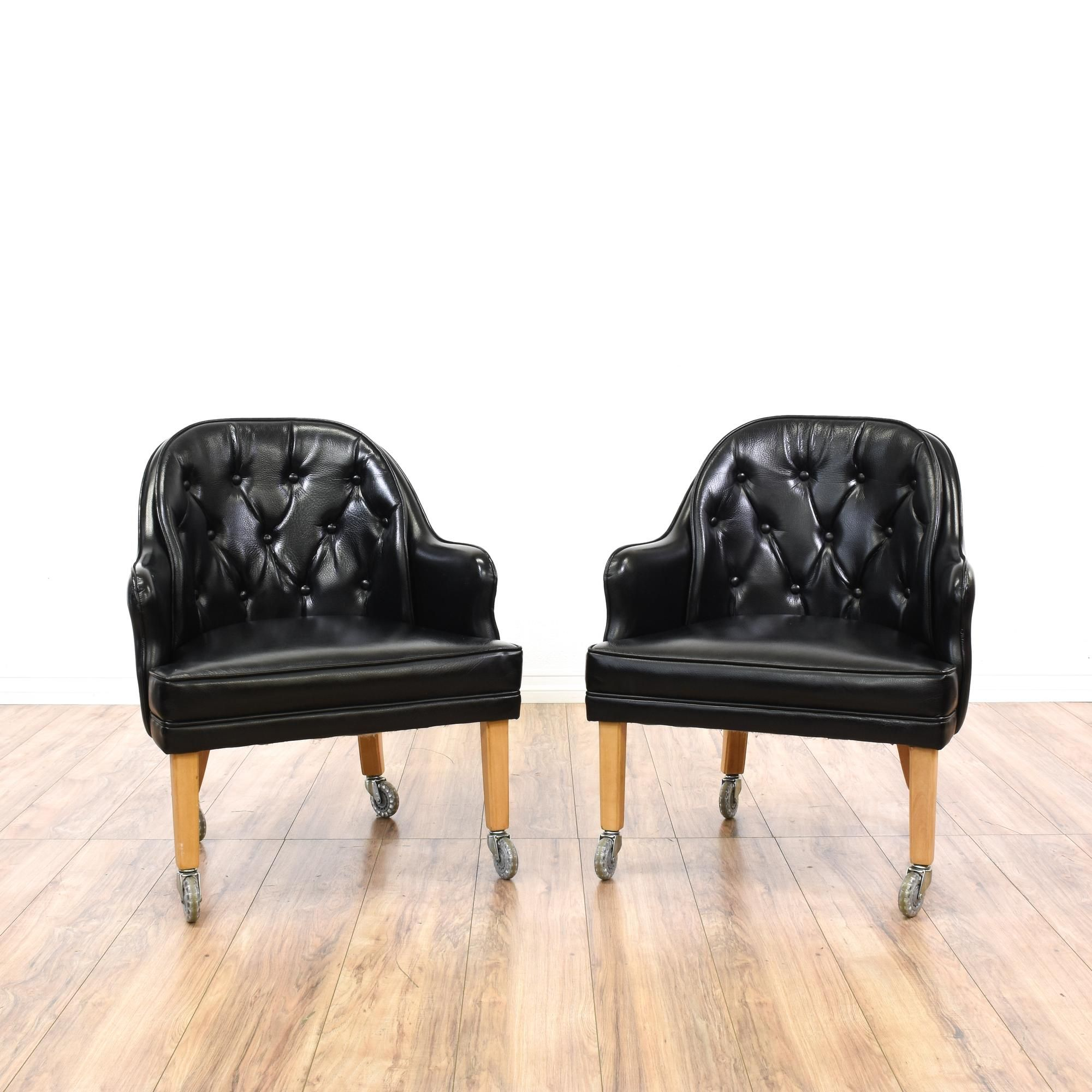 Pair Tufted Black Vinyl Chairs