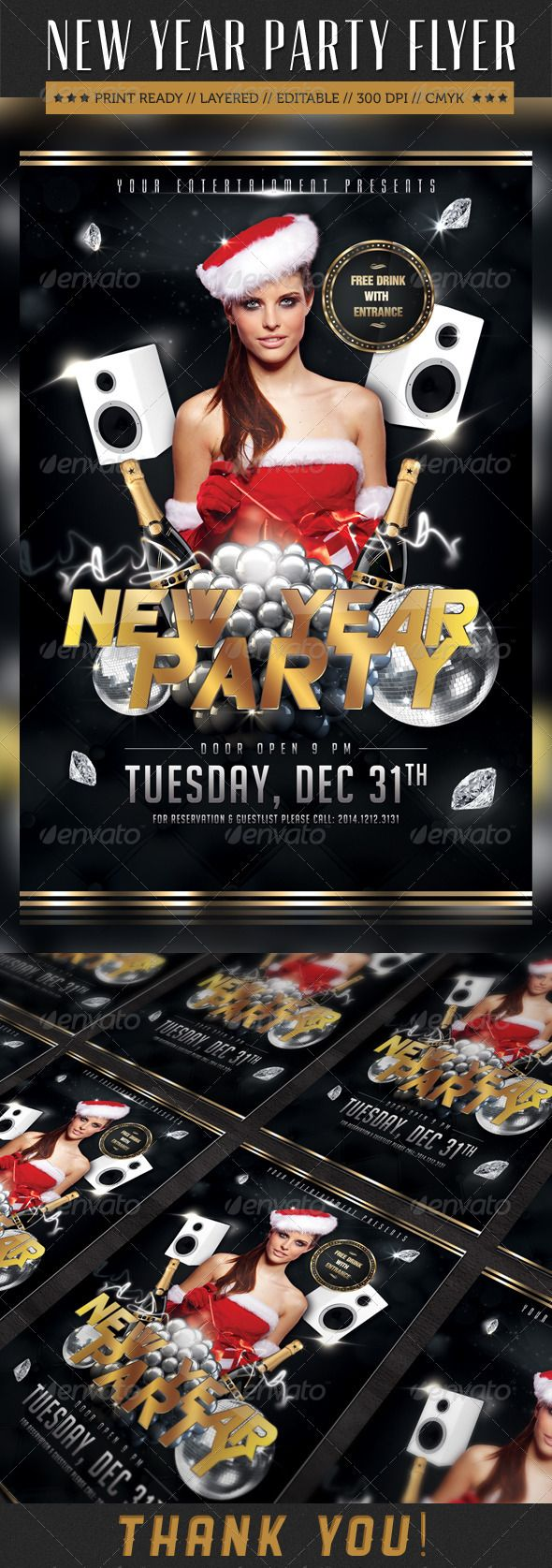 New Year Party Flyer v1 #GraphicRiver SIZE SPECS: • Layered PSD ...