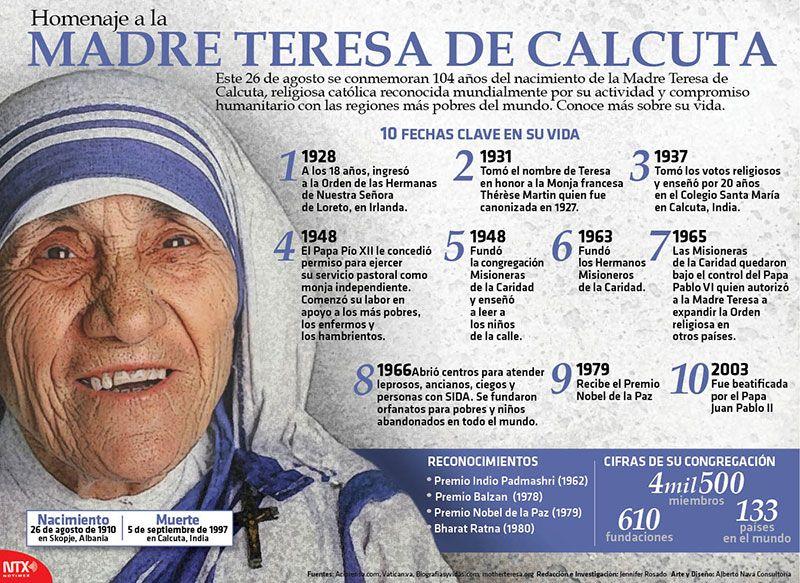 La Madre Teresa De Calcuta Infografia Madre Teresa Educacion