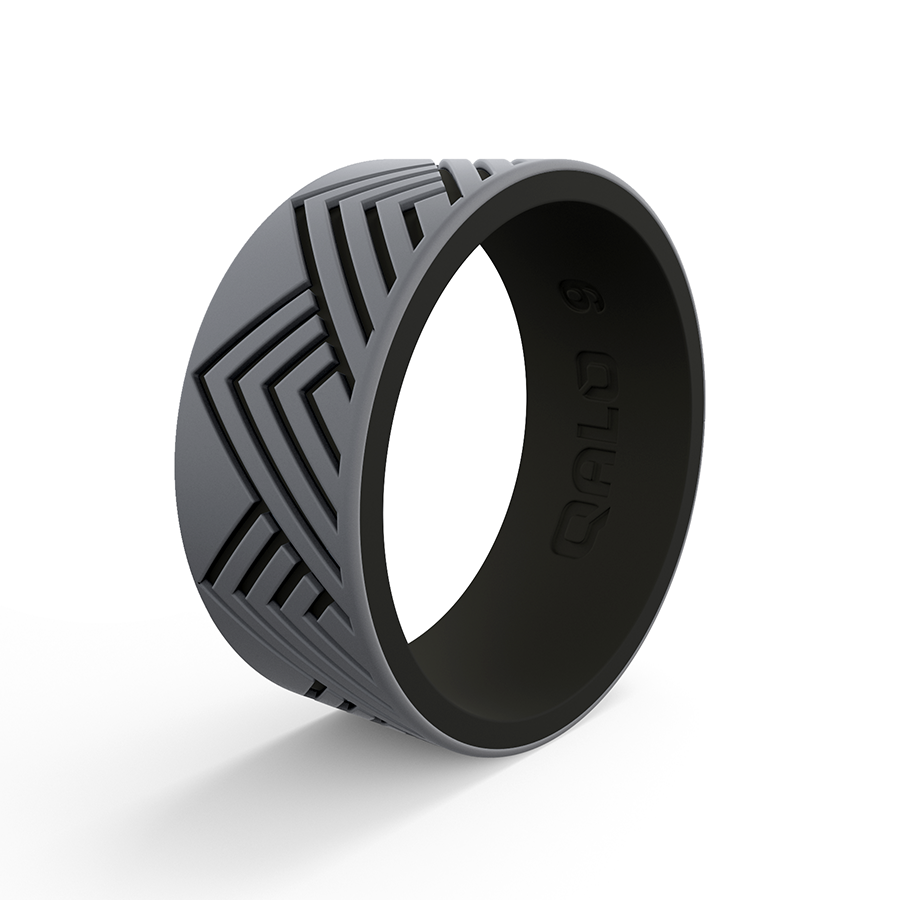 Featuring Two Layers Of Contrasting Silicone And An Engraved Pattern All Throughout The Strata Silicone Ring Takes Silicone Rings Rings Silicone Wedding Rings